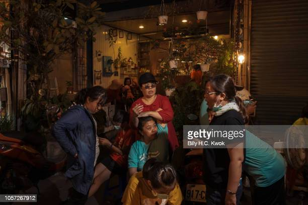 Residents gather backstage during the Pingtung Wang Yeh BoatBurning Festival on November 3 2018 in Pingtung Taiwan The Wang Yeh Boat Burning Festival...