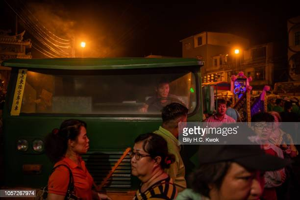 Residents gather during the Pingtung Wang Yeh BoatBurning Festival on November 3 2018 in Pingtung Taiwan The Wang Yeh Boat Burning Festival is...