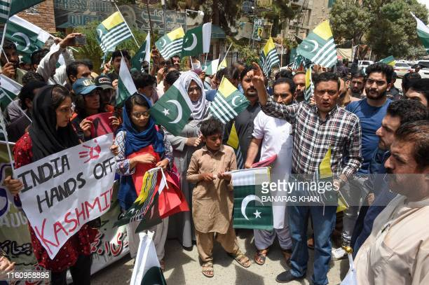 Residents gather in support of Kashmiri people during an antiIndian protest in Quetta 11 after the Indian government stripped the disputed Kashmir...
