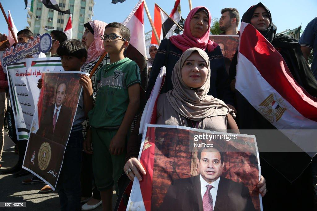 Egyptian intelligence chief Khaled Fawzi in Gaza City : News Photo