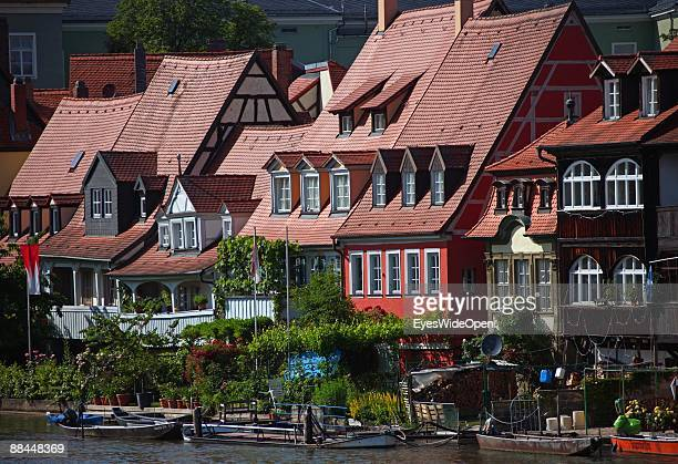 Residents houses along the river Regnitz on June 11 2009 in Bamberg Germany Bamberg is listed as a World Heritage by UNESCO