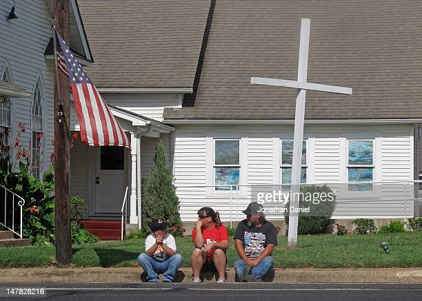 Residents in front of a church wait for the start of the Independence Day parade on July 4 2012 in Centerville Texas This year marks the 236th...