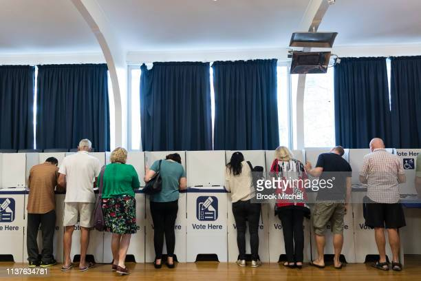 Residents in the marginal electorate of Oatley cast their vote on March 23 2019 in Sydney Australia The 2019 New South Wales state election is being...