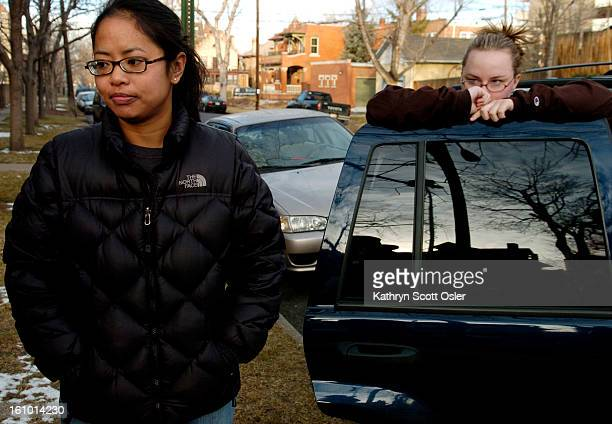 DENVER CO FEB 19 2005 Residents in the neighborhood of 10th and Marion talk Saturday morning after sexual assault suspect Brent J Brents was captured...