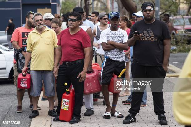 Residents line up for gasoline days after Hurricane Maria made landfall on September 22 2017 in San Juan Puerto Rico Many on the island have lost...