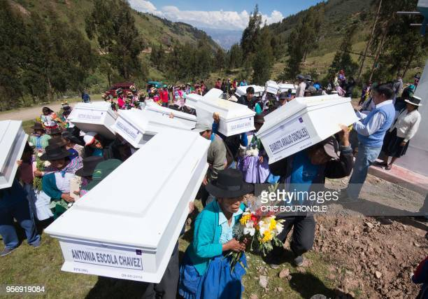 Residents mostly peasants of Culluchaca a small rural community of 700 families living at 3800 meters above sea level in the Andes carry the coffins...