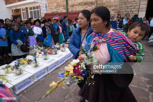 Residents mostly peasants of Culluchaca a small rural community of 700 families living at 3800 meters above sea level in the Andes mourn for their...