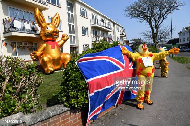Residents of Belle View Mansions in Southbourne dress up as chickens and erect a huge blow up Easter bunny to show support for the NHS on April 10,...