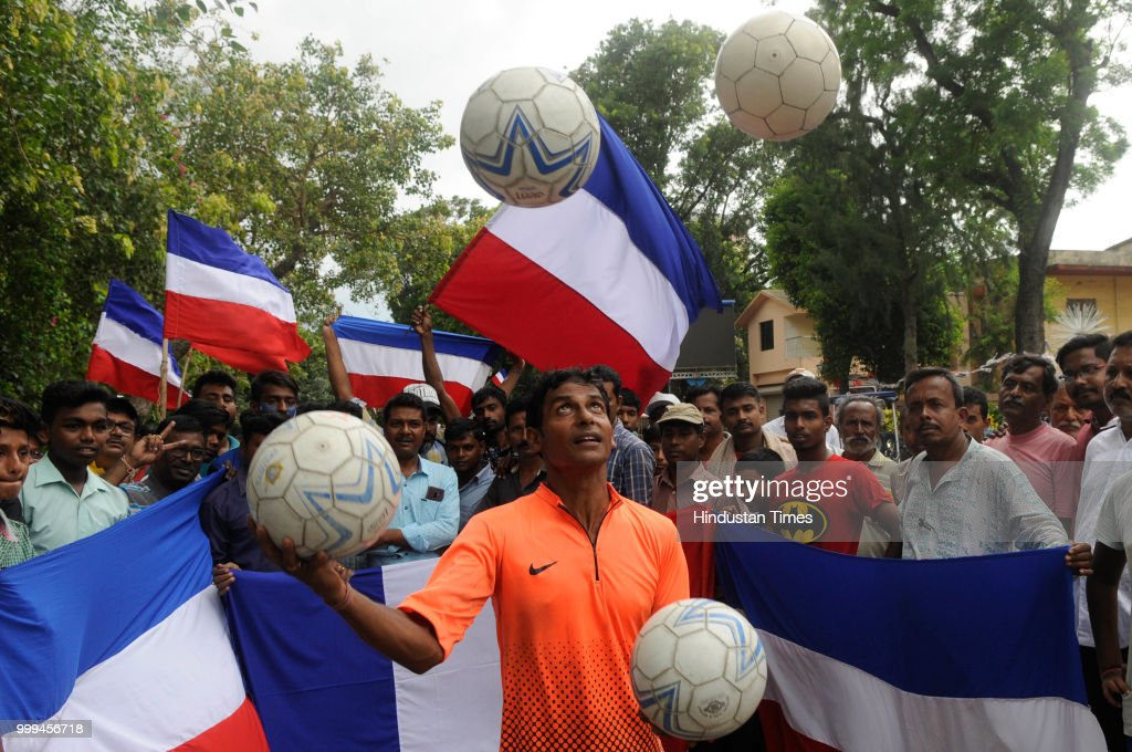 Residents Of Chandannagar Cheer For France Before FIFA World Cup Final Against Croatia