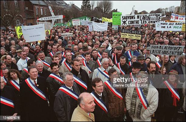 Residents of Chaulnes area demonstrate against planned construction of Paris's third airport In Chaulnes France On December 01 2001 Mayors...