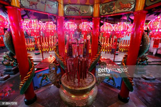 Residents of Chinese descent worship during the Chinese New Year at Amurva Bhumi Temple Jakarta on February 162016 Chinese people celebrate the Lunar...