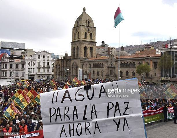 Residents of El Alto and La Paz protest for the lack of water, in La Paz, on November 29, 2016. Bolivia's government declared an emergency as the...