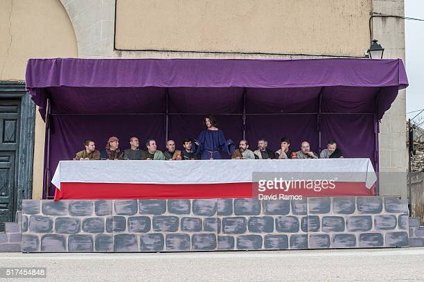Residents of Hiendelaencia dressed in period clothing perform the Last Supper during the reenactment of Christ's suffering on March 25, 2016 in...