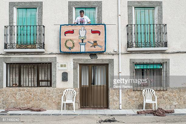 Residents of Hiendelaencia prepare the stages ahead of the reenactment of Christ's suffering on March 25, 2016 in Hiendelaencina, Spain. The 140...