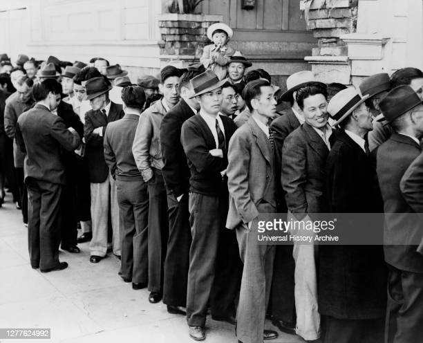 Residents of Japanese ancestry, appearing at Civil Control Station for registration in response to Army's Exclusion Order No. 20--Evacuees will be...