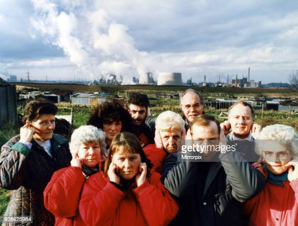 Residents of Lazanby cover their ears as the noise from the Enron site becomes unbearable 17th February 1993