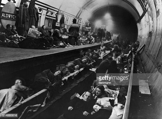 Residents of London sleep on the platform and tracks at a subway station The tunnel was converted to an air raid shelter after German attacks on the...
