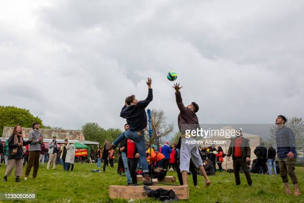 Residents of Napier Barracks and locals play volleyball together as 200 campaigners from different local groups came together today for a festival of...