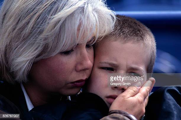 Residents of Oklahoma City pay their respects during the Day of Mourning memorial service at the baseball stadium for victims of the Alfred P Murrah...