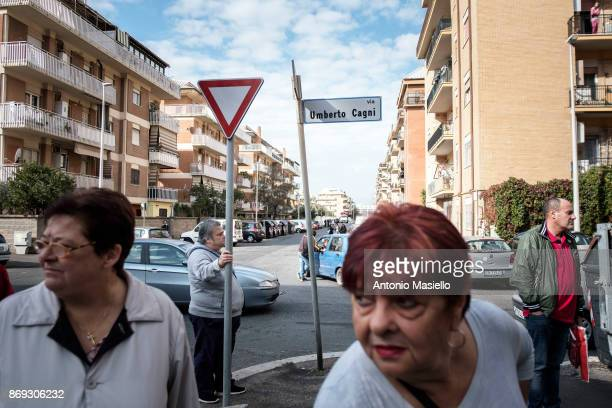 Residents of Ostia's city hall walk on the street to protest against the evictions and deterioration of the suburb of Rome on October 31 2017 in Rome...