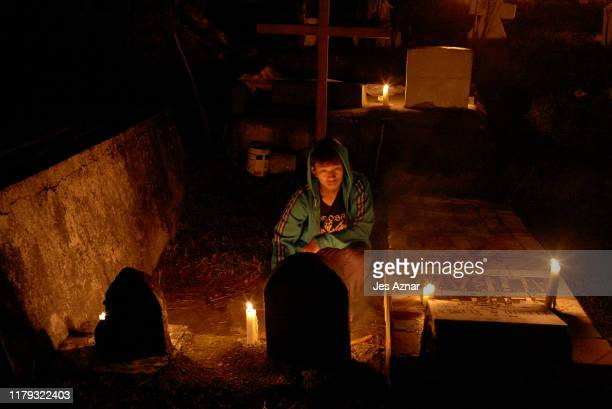 Residents of Sagada flock to their town cemetery to light pine sticks as they remember their dead on November 1 2019 in Sagada Mountain Province...