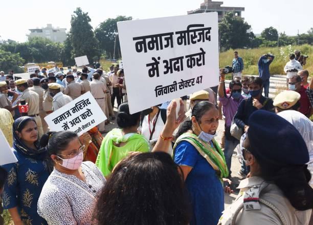 IND: Locals Protest Against Friday Namaz In Gurugram