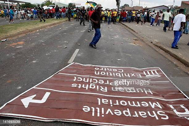 Residents of Sharpeville in Johannesburg South Africa protesting that Human Rights Day commemorations are taking place in Soweto instead of...