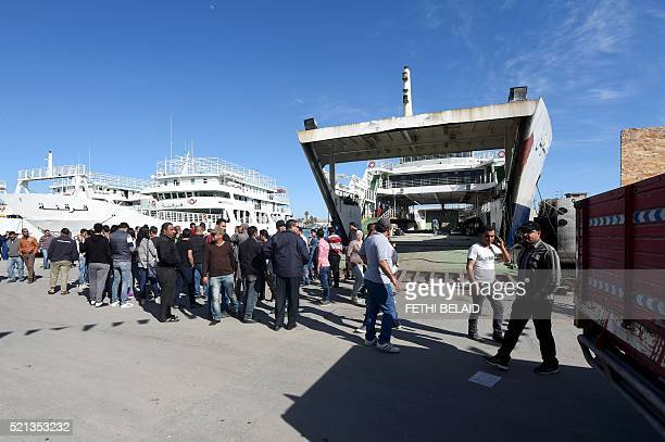 Residents of the city of Sfax block access to a ferry headed to the island of Kerkennah on April 15 to prevent the police reinforcements from...