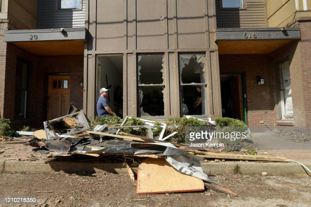 Residents of the Germantown neighborhood collect their belongings to vacate destroyed apartments on March 03 2020 in Nashville Tennessee At least 22...