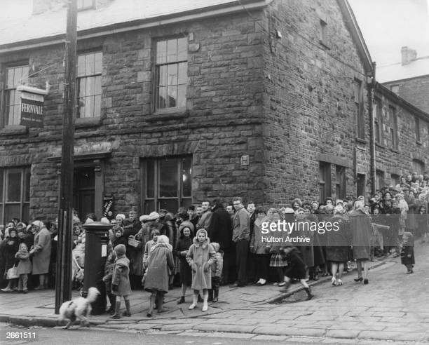 Residents of the Rhondda Valley queuing for their smallpox vaccinations after the World Health Organisation declared the valley to be an infected area