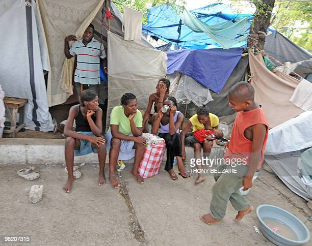 Residents on April 01 2010 in a tent city of PetionVille a neighborhood of PortauPrince The global community has pledged nearly 10 billion USD for...