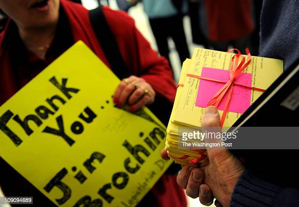 Residents on Jim Brochin's district prepare to hand over 900 cards signed by constituents in support of Maryland's Gender Identity AntiDiscrimination...