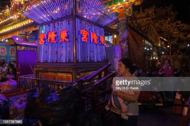 Residents participate the Pingtung Wang Yeh BoatBurning Festival on November 3 2018 in Pingtung Taiwan The Wang Yeh Boat Burning Festival is...