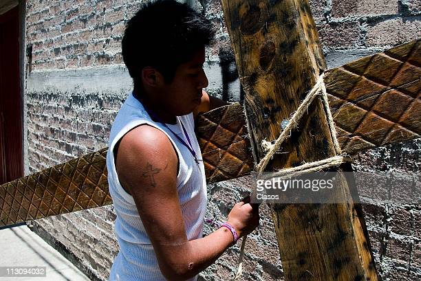 Residents prepare for the Way of the Cross Celebration on Iztapalapa on April 20 in Mexico City Mexico