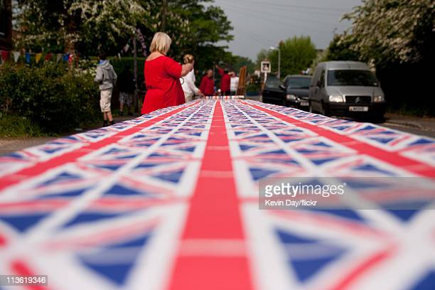 Residents prepare the tables for a street party to celebrate the Royal wedding of Prince William and Katherine Middleton on April 29 2011 at Victoria...