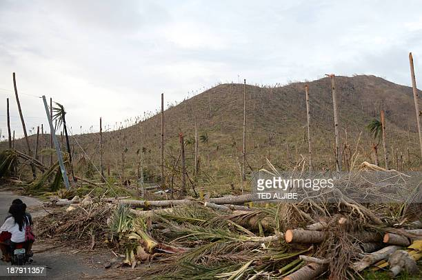 Residents riding on a motorcycle along a road with destroyed coconut tress in Palo town, Leyte province, central Philippines, on November 13 days...