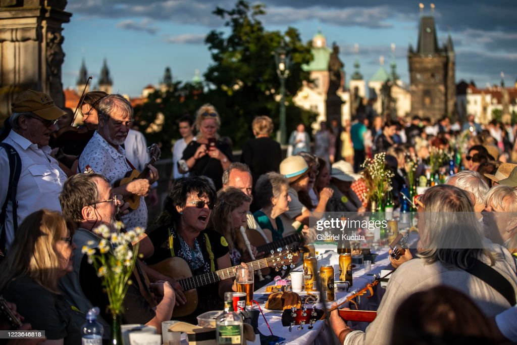 Prague Welcomes Summer With Al Fresco Dinner Party At Charles Bridge : News Photo
