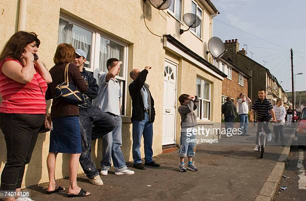 Residents stand in the street after an earthquake struck April 28, 2007 in Folkestone, United Kingdom. The quake, registering at least 4.3, struck at...