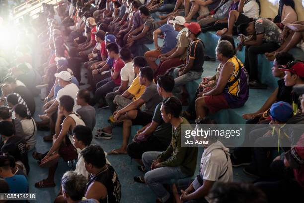 Residents trooped to a local gymnasium to watch the boxing fight of Manny Pacquio and Adrien Broner on January 20 2019 in Pacquiaos hometown of...