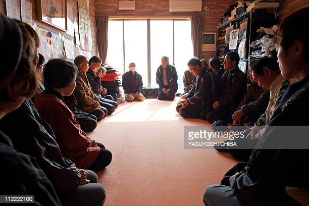Residents who suffered from the recent tsunami gather and discuss plans regarding temporary house in Kesennuma city Miyagi prefecture on April 14...
