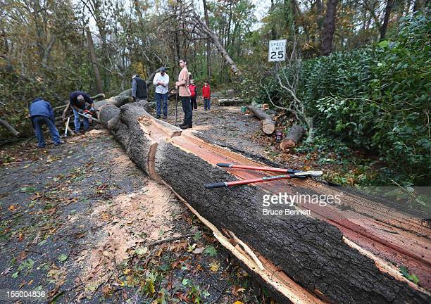Residents work to clear downed trees on White Oak Tree Road in the aftermath of Hurricane Sandy on October 30 2012 in Laurel Hollow New York The...