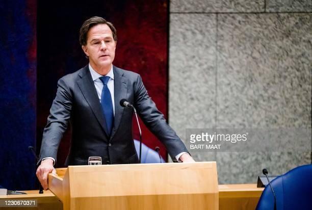 Resigning Dutch Prime Minister Mark Rutte gives a statement in the House of Representatives about the resignation of the cabinet after the harsh...