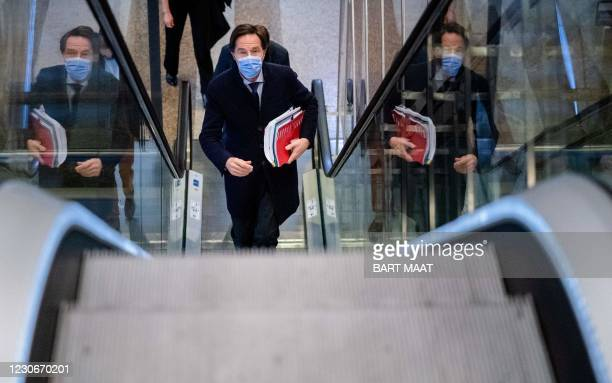 Resigning Dutch Prime Minister Mark Rutte on his way to the House of Representatives for a statement about the resignation of the cabinet after the...
