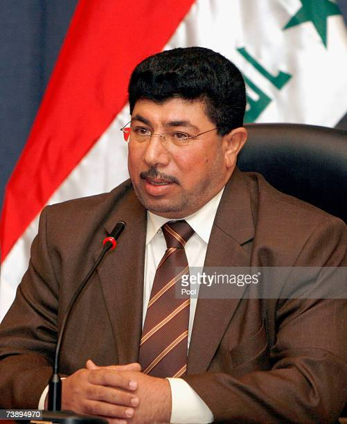 Resigning Minister from the alSadr parliamentary bloc Saeed AlHashimi addresses the media during press conference April 16 2007 in Baghdad Iraq...