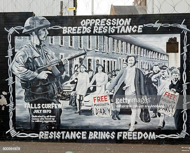 Resistance brings freedom poster in Falls Road Belfast, Northern Ireland.