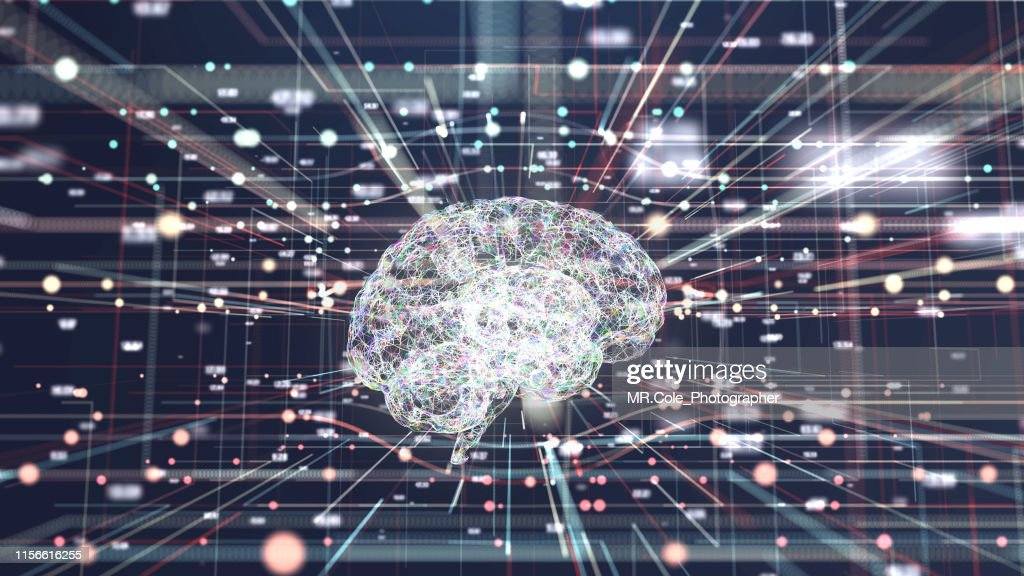 4K resolution Futuristic Brain in big data connection systems.artificial intelligence Concept : Stock Photo