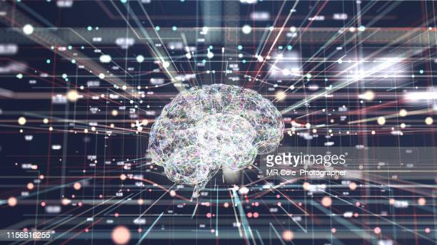 4k resolution futuristic brain in big data connection systems.artificial intelligence concept - brain  stock pictures, royalty-free photos & images