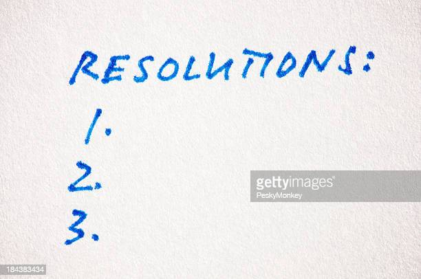 Resolutions List Handwritten on Textured Paper