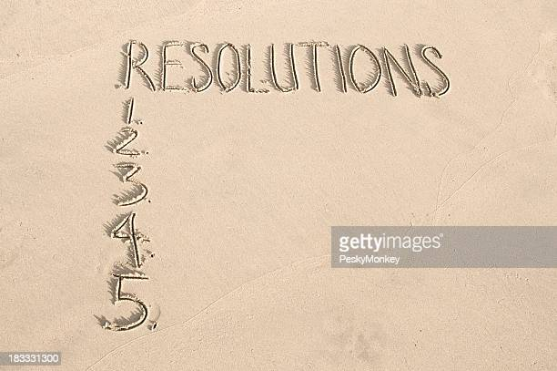 Resolutions Message in Sand with Numbers
