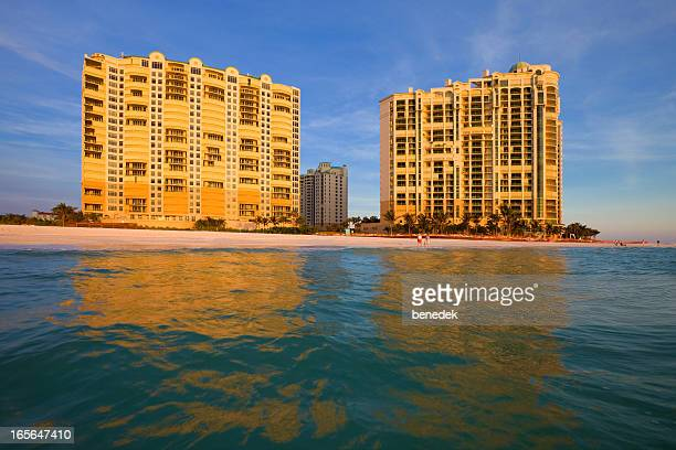 resort at sunset, marco island, florida, usa - marco island stock pictures, royalty-free photos & images
